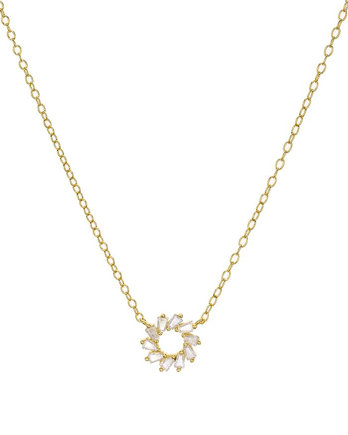 """AQUA - Small Round Baguette Pendant Necklace in 18K Gold-Plated Sterling Silver or Platinum-Plated Sterling Silver, 15"""" - 100% Exclusive"""
