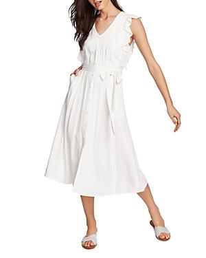1.state Dresses SLEEVELESS RUFFLE-TRIM MIDI DRESS