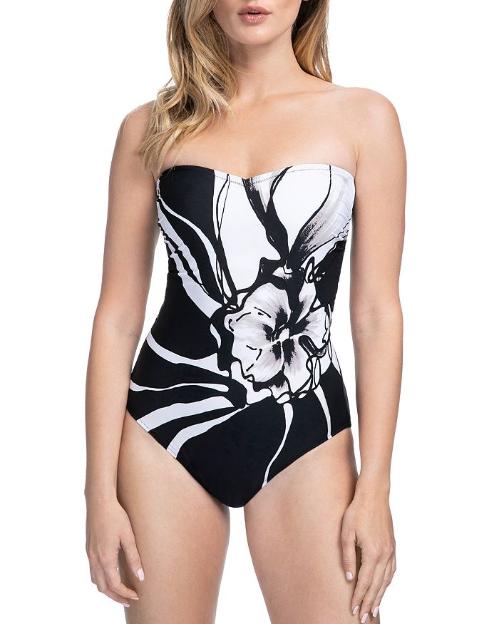 80b43210719 Gottex Midnight Rose Bandeau One Piece Swimsuit | Bloomingdale's