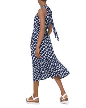 MICHAEL Michael Kors - Shirred Ruffled Ikat-Print Midi Dress