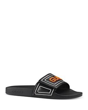 Gucci - Men's Leather Logo Slide Sandals