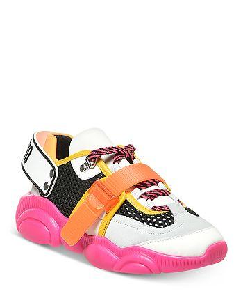 Moschino - Women's Teddy Neon Mixed Media Sneakers