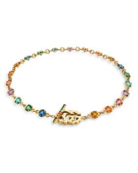 Gucci - 18K Yellow Gold Running G Rainbow Gemstone Bracelet