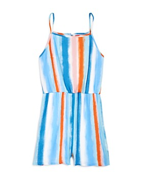 AQUA - Girls' Striped Romper, Big Kid - 100% Exclusive