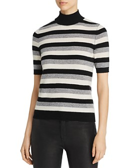 C by Bloomingdale's - Striped Short-Sleeve Cashmere Sweater - 100% Exclusive