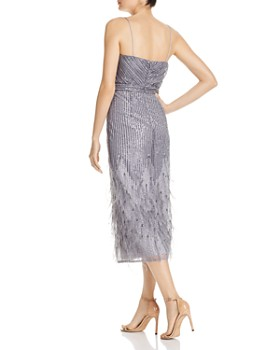 Aidan Mattox - Sequin & Feather Midi Dress