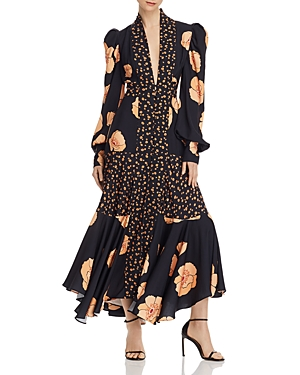Acler Elton Mixed-Florals Long-Sleeve Dress
