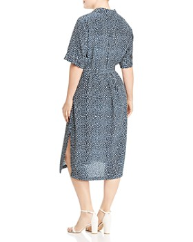 Lafayette 148 New York Plus - Doha Silk Short-Sleeve Geometric-Print Shirt Dress
