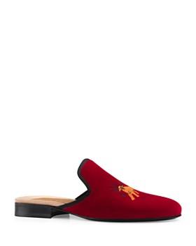 Gucci - Men's Velvet Feline Embroidery Slippers