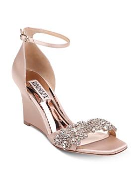 ba2b1b43091a Badgley Mischka - Women's Aliyah Crystal-Embellished Wedge Heel Sandals ...