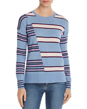 17a89d893f9 AQUA - Mixed-Stripe High/Low Cashmere Sweater - 100% Exclusive ...