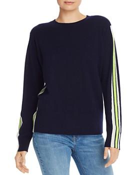 AQUA - Track-Stripe Cashmere Sweater - 100% Exclusive