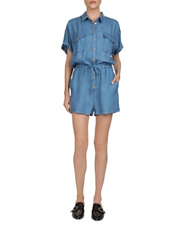 The Kooples - Drawstring-Waist Chambray Romper