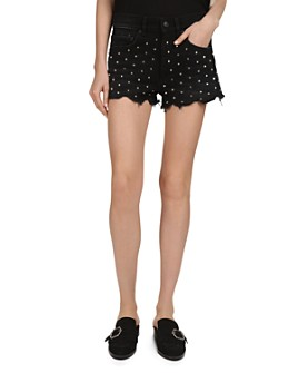 The Kooples - Studded Denim Mini Shorts in Black
