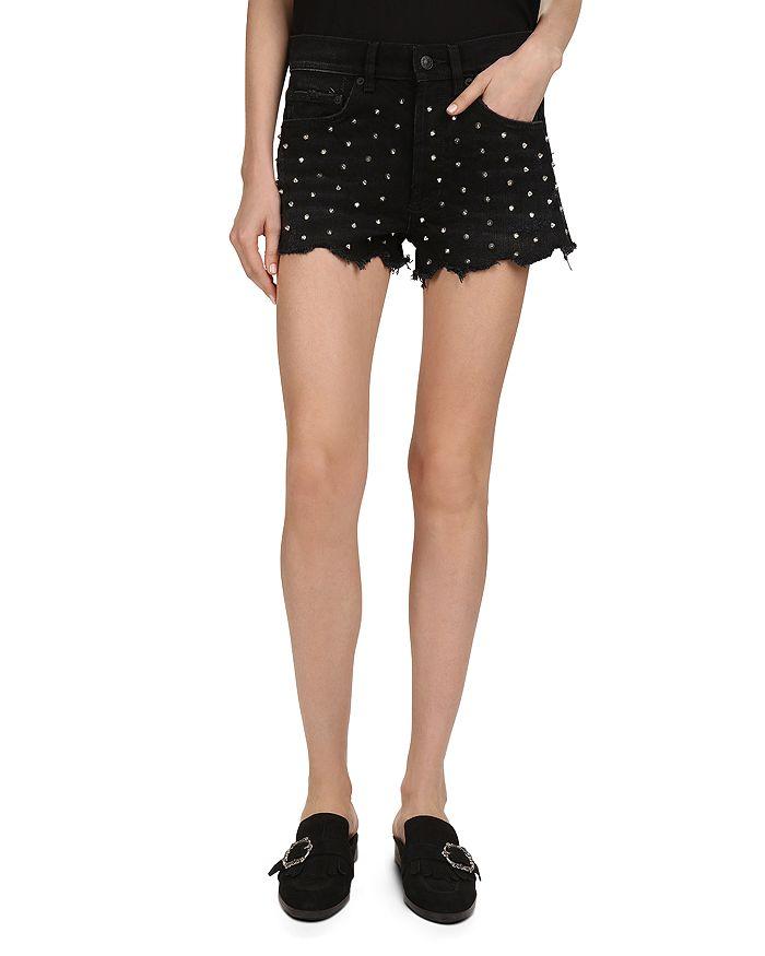 730b580003 The Kooples Studded Denim Mini Shorts in Black | Bloomingdale's