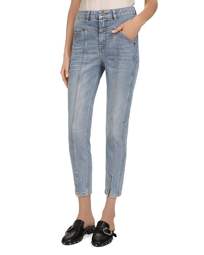 The Kooples - High-Rise Cropped Slim-Leg Jeans in Light Blue