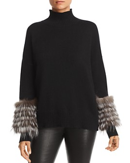 C by Bloomingdale's - Fox Fur-Trim Cashmere Mock-Neck Sweater - 100% Exclusive
