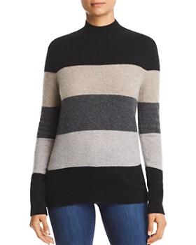 C by Bloomingdale's - Striped Mock-Neck Cashmere Sweater - 100% Exclusive