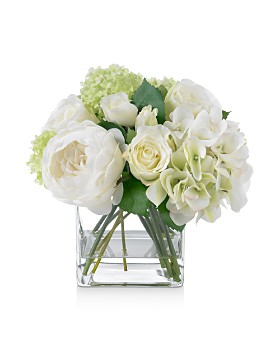 Diane James Home - Blooms Rose & Hydrangea Bouquet in Glass Cube