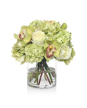 Diane James Home - Hydrangea & Orchid Faux Floral Arrangement in Glass Cylinder