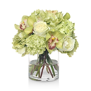 Diane James Home Hydrangea & Orchid Faux Floral Arrangement in Glass Cylinder