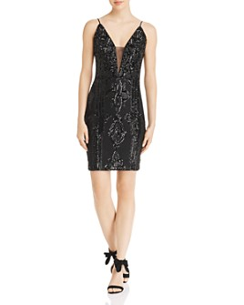 AQUA - Sequined Mesh Mini Dress - 100% Exclusive