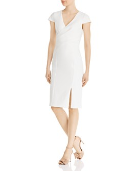 Adrianna Papell - V-Neck Faux-Wrap Sheath Dress