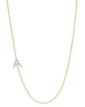 "Zoe Lev - 14K Yellow Gold Diamond Asymmetric Initial Necklace, 18"""