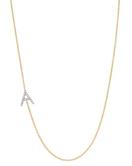 Zoe Lev - 14K Yellow Gold Diamond Asymmetric Initial Necklace, 18""