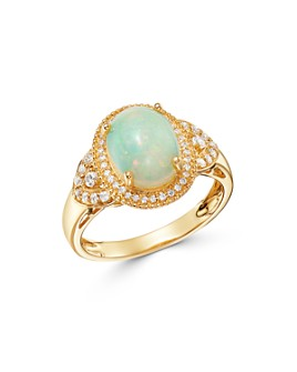 Bloomingdale's - Opal & Diamond Milgrain Ring in 14K Yellow Gold - 100% Exclusive