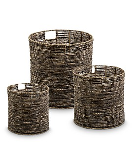 Honey Can Do - Coastal Collection Nesting Storage Bins with Grab Handles, Set of 3, Brown Maize
