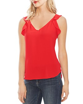 VINCE CAMUTO - Sleeveless High/Low Flutter Top