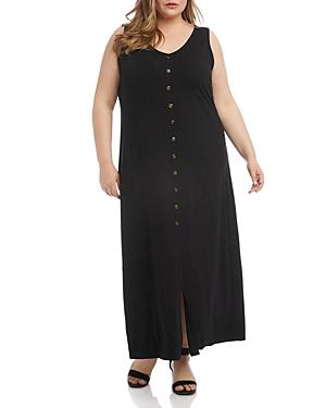 Karen Kane Plus Alana Button-Front Jersey Maxi Dress