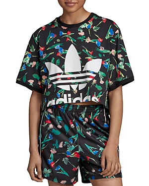 Adidas Floral Trefoil Cropped Tee