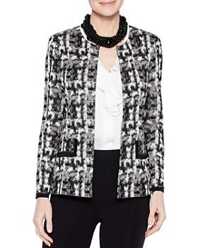 61d276927dd274 Misook - Brushstroke Patterned Knit Jacket ...