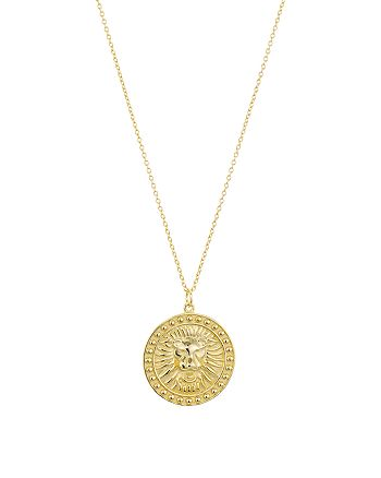 """Argento Vivo - Lioness Medallion Pendant Necklace in 18K Gold-Plated Sterling Silver, 24"""""""