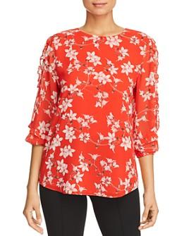 Calvin Klein - Floral-Print Ruffled Blouse