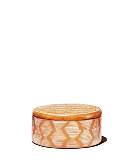 TO THE MARKET - Orange Soapstone Box with Stripe Pattern, Small