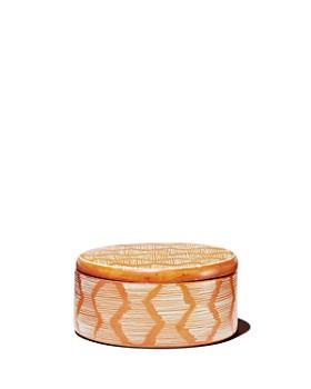 TO THE MARKET - Orange Soapstone Box with Stripe Pattern, Small