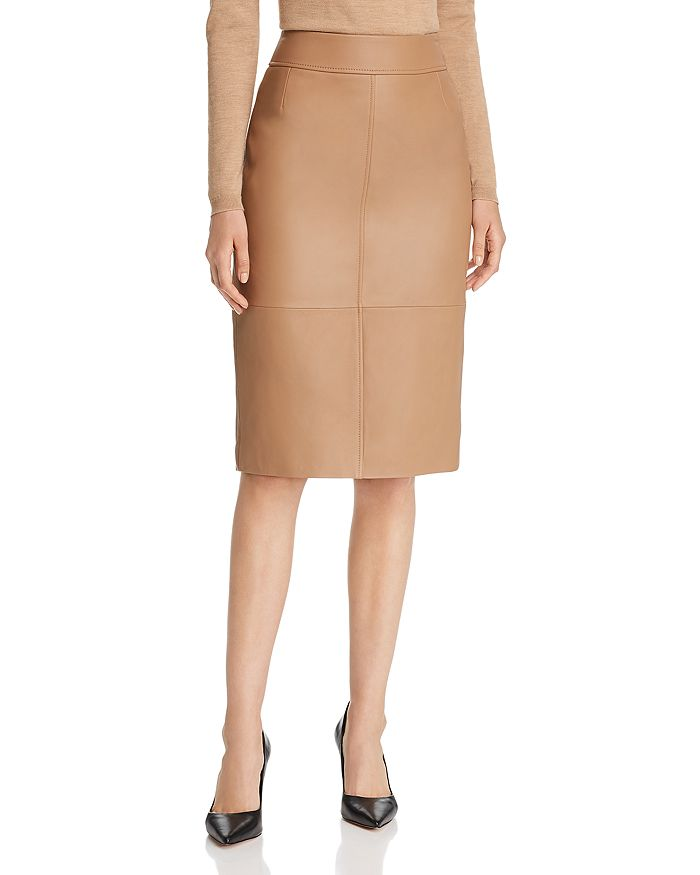 BOSS - Selrita Leather Pencil Skirt
