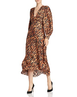 Sandro - Faunie Animal-Print Silk Midi Dress - 100% Exclusive
