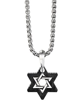 David Yurman - Sterling Silver & Forged Carbon Star of David Amulet