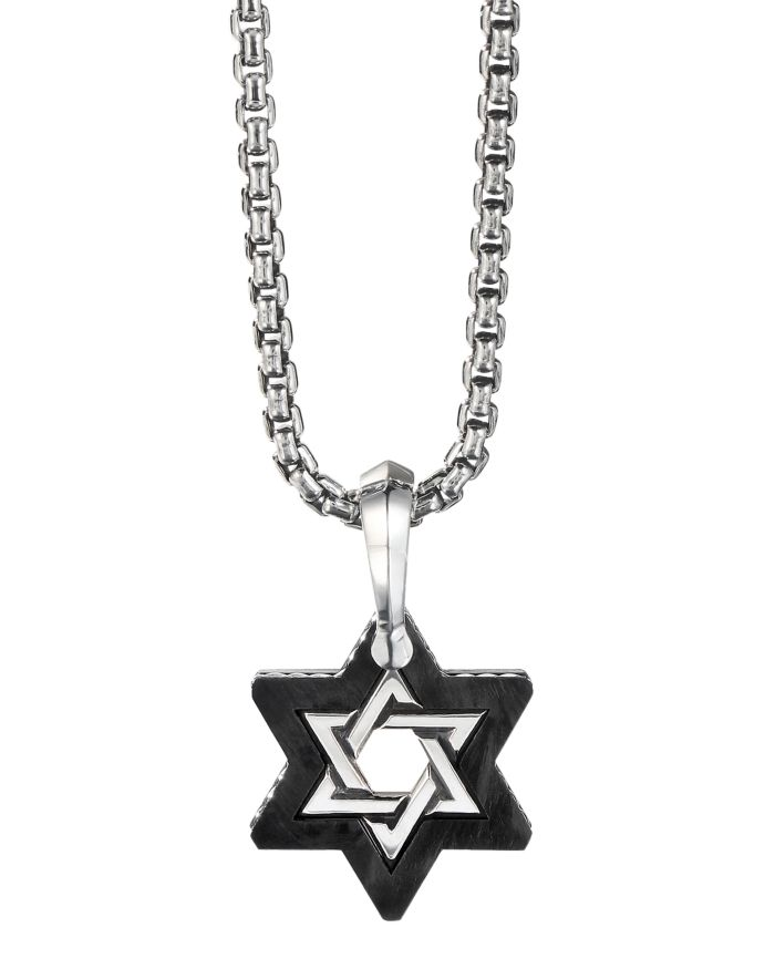 David Yurman Sterling Silver & Forged Carbon Star of David Amulet  | Bloomingdale's