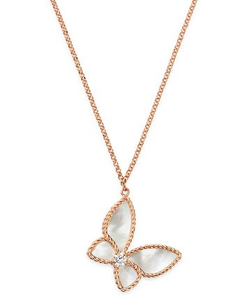 """Roberto Coin - 18K Rose Gold Mother-of-Pearl & Diamond Butterfly Pendant Necklace, 16"""" - 100% Exclusive"""