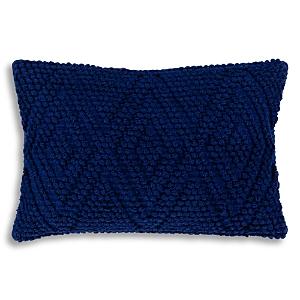 Surya Merdo Navy Textured Lumbar Throw Pillow, 22 x 14
