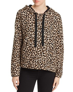 Velvet by Graham & Spencer - Kassidy Leopard Print Hooded Sweatshirt