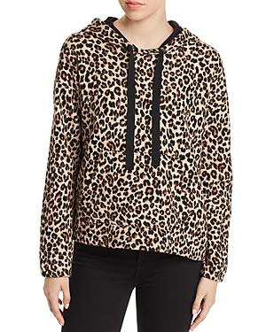 Velvet By Graham & Spencer T-shirts Kassidy Leopard Print Hooded Sweatshirt