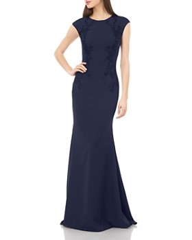 Carmen Marc Valvo Infusion - Cap Sleeve Beaded Gown