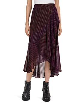 The Kooples - Asymmetric-Ruffle Stitched-Dot Pattern Skirt
