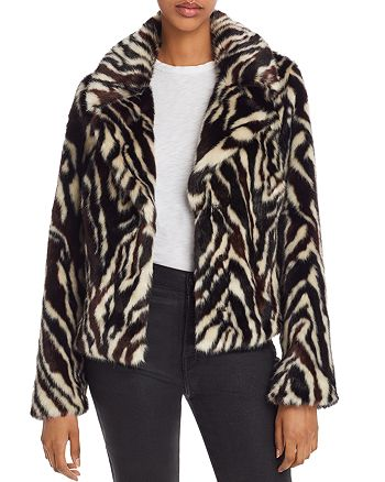 7 For All Mankind - Faux-Fur Zebra-Print Jacket